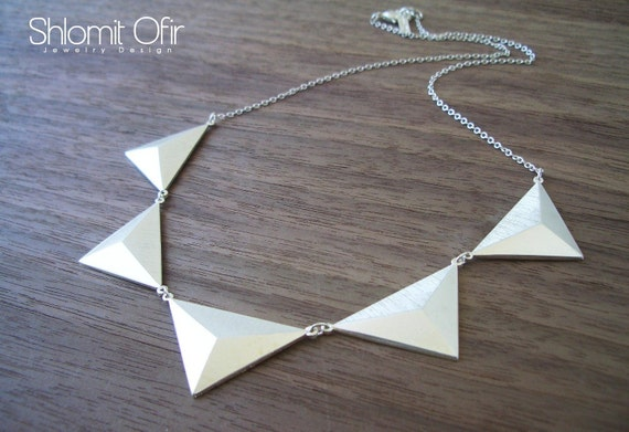 Five Triangles Necklace in Matte Silver