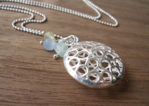 Sphere and Beads Necklace in Silver OUTLET PRICE