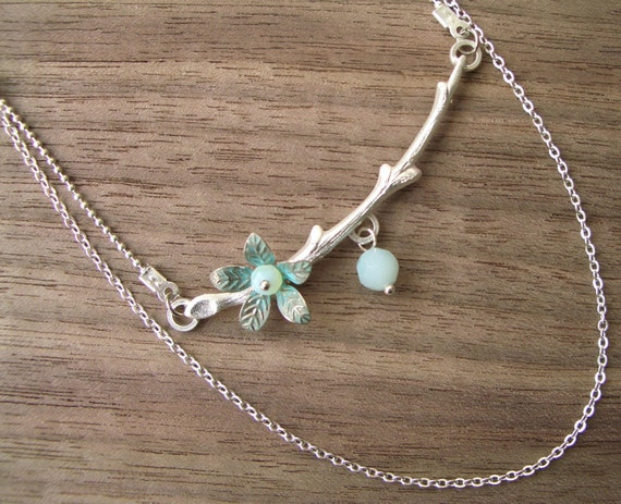 Branch in Blossom Necklace- Silver
