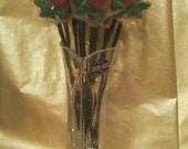 1 doz 3d Solid Chocolate Roses in A Lead Crystal Heart Vase
