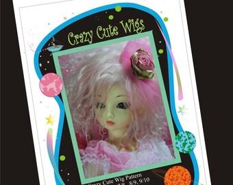 PDF Version - Crazy Cute Wig Pattern for BJD - sizes 7/8, 8/9. 9/10