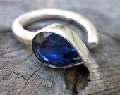 Sterling Silver and Sapphire Blue Cubic Zirconia - Rain Drop Ring, OOAK, Size K (5 1/4) adjustable