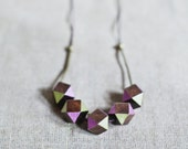 Geometric Necklace / Brown - Pink - Gold Necklace / Tribal Necklace