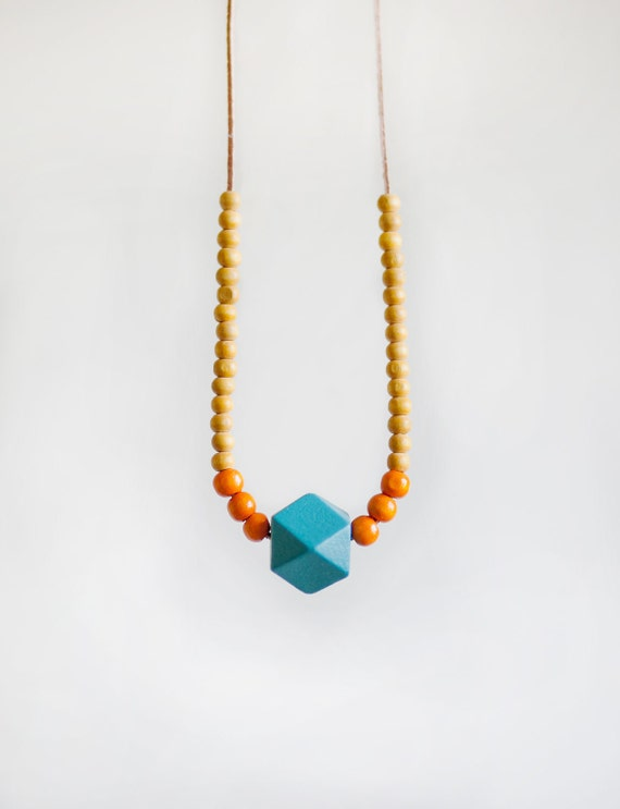 Wooden Boho Necklace / Colorful Necklace