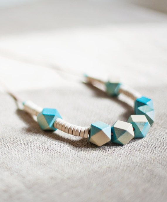 Geometric Necklace / Wooden Necklace/ Baby Blue/ Beige