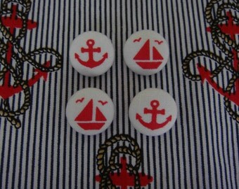 Cute Nautical Japanese Fabric Covered Buttons For Sewing - Set of 4 - Anchors And Boats