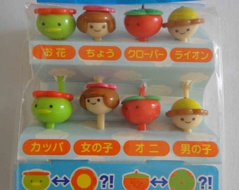 Cute Faces / People / Girl / Boy Japanese Bento Picks / Cake Toppers - Set Of 8