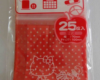 Sanrio Hello Kitty Red Transparent Ziplock Resealable Poly Bags - Pack Of 25 - Hello Kitty And Toys With Polka Dots