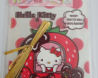 Sanrio Hello Kitty And Strawberry Chocolate Dessert House Transparent Japanese Plastic Gift / Party Bags