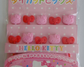 Sanrio Hello Kitty Cake Toppers / Bento Picks - Set Of 10 - Pink Hello Kitty Faces And Red Bows
