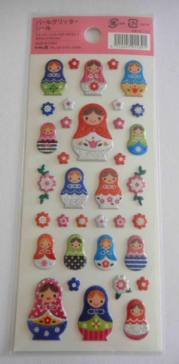 Cute Japanese Glittery Stickers - Matryoshka Russian Dolls And Flowers