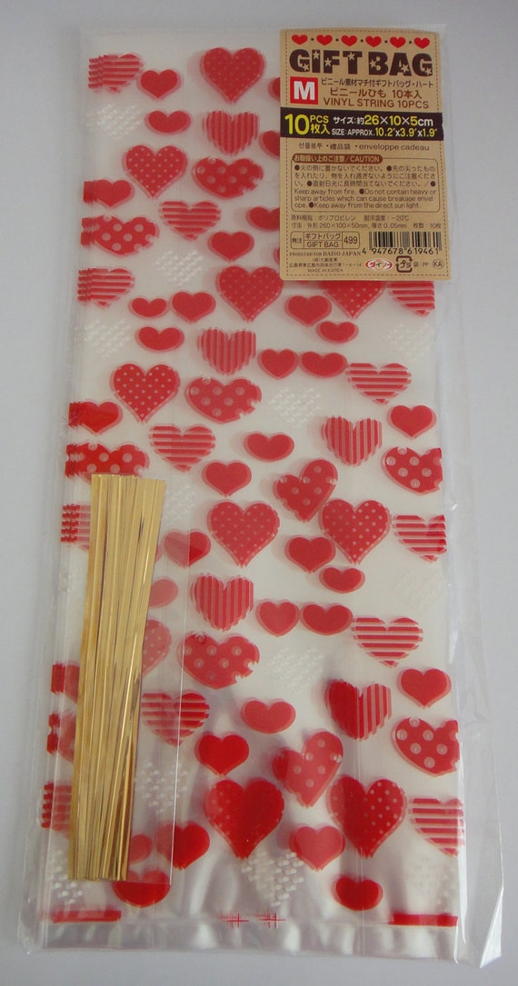 Red And White Hearts Transparent Japanese Gift Bags - Medium