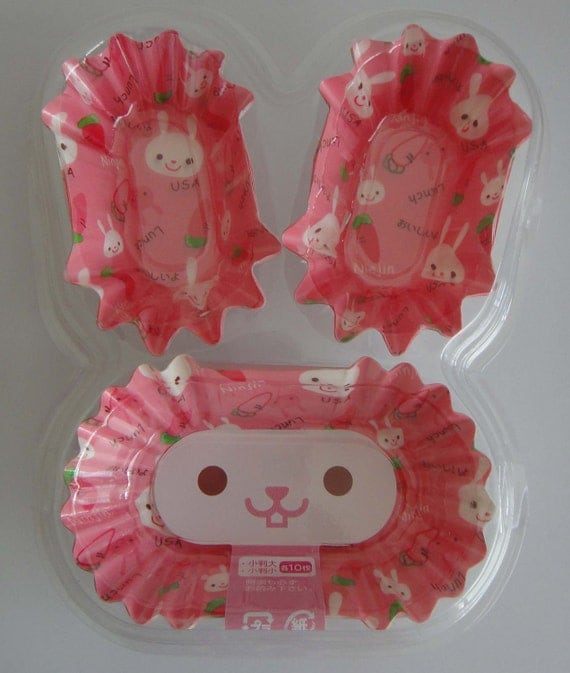 Cute Pink Japanese Bunny Rabbits And Carrots Oval Shaped Paper Cupcake Cups / Bento Liners