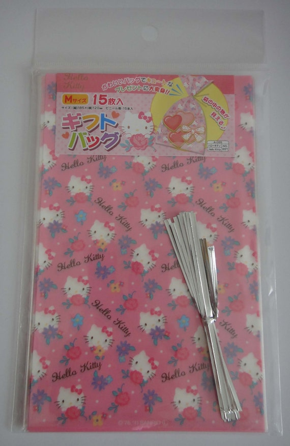 Sanrio Hello Kitty With Flowers Pink Transparent Japanese Cellophane Plastic Gift Bags / Party Bags