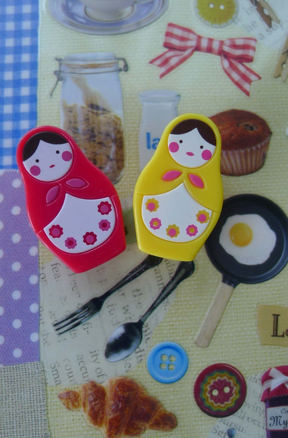 Cute Mini Matryoshka Russian Doll Clip Magnets - Set of 2 - Red And Yellow