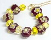 SALE  Chocolate flowers  - Lampwork beads set- (15 )
