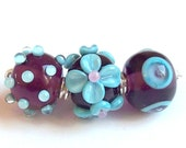 Trio amethyst and turquoise -Lampwork beads set-
