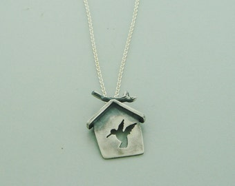 HOPE is the thing with feathers pendant on sterling chain