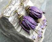 Vintage Style Purple Bellflower & Amethyst Gemstone Earrings