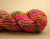 Neon Fusion - Hand Painted Superwash Wool \/ Nylon Sock Yarn - Hot Pink, Lime Green, Bright Orange