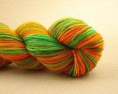 Tropical Temptation - Hand Painted Superwash Wool \/ Nylon Sock Yarn - Tangerine, Mango and Lime Green