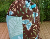 Knitting Crochet Drawstring Project Bag - Aqua and Brown Butterflies