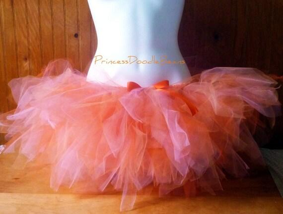 Orange Sherbet Trashy Tutu - Teen or Adult - SEWN and super FULL - short tulle skirt  - runners, bachelorette