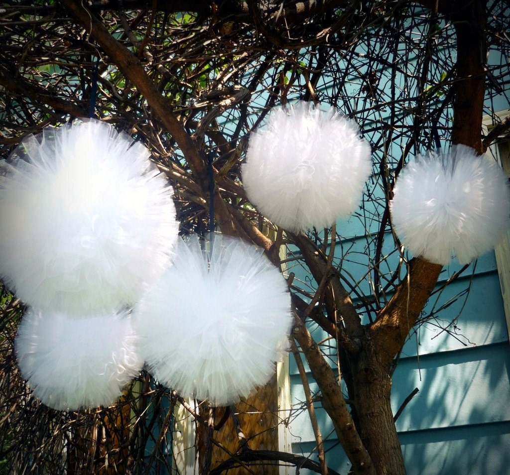 Large tulle pom pom balls custom unique handmade for Outdoor tree decorations