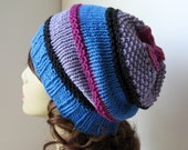Hand Knit Beret Slouch Hat in Cotton - Blue, Black, Raspberry and Lavender