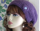 Women Accessory Slouch Hat - Dusty Purple with Pearl Seed Beads Winter Fashion Plum
