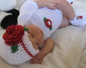 Baby Hat, Bodysuit and Booties in Red, White and Green Cotton Valentine's Day