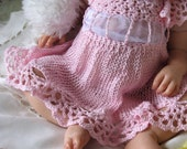Newborn Baby Knit and Crochet Lace Dress in Pink Cotton