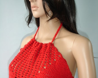 Red crochet halter top - ready to ship
