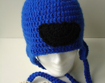 Cookie Monster inspired Crocheted  Earflap Hat - custom work