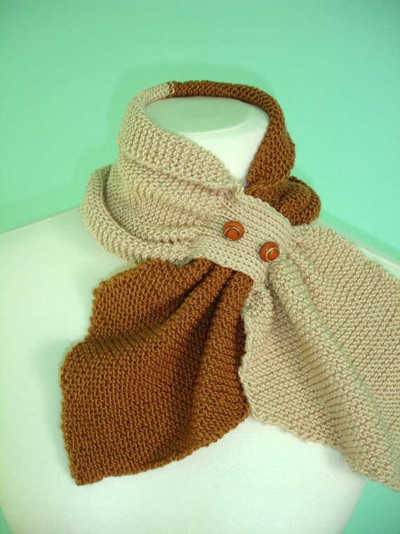 Bicolor Scarflette in cream and brown - ready to ship
