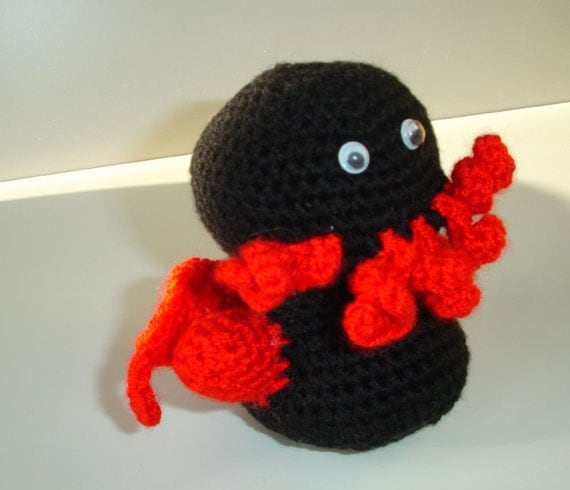 Custom crocheted tiny cthulhu amigurumi doll