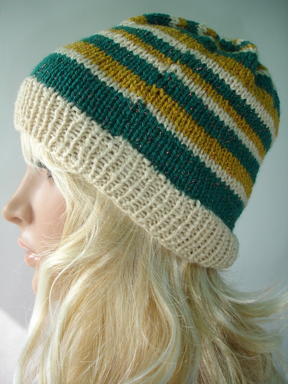 Green, mustard yellow and cream - Striped slouchy beanie - ready to ship