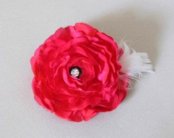 SALE PRICED  Pink Flower Hair Clip with Ivory Feathers, Ready to Ship