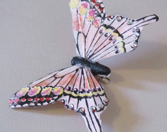 Light Pink Butterfly Hair Clip with Rhinestones for Prom or Weddings