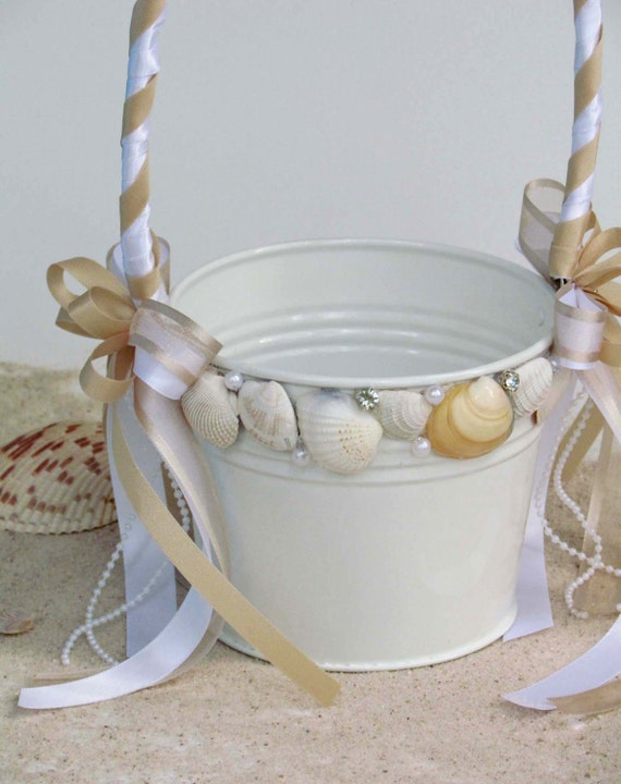 Seashell Flower Girl Basket for your Beach Wedding... Custom Made