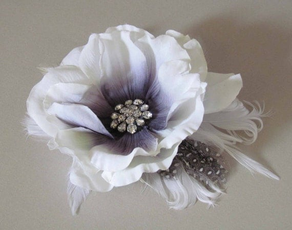 SALE PRICED  White and Black Bridal Hair Clip with Feathers, Ready to Ship