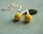 yellow berry - handmade crochet berry pendant necklace with silver plated metal chain