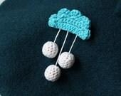 the rainy cloud brooch - handmade crochet cotton brooch, pin
