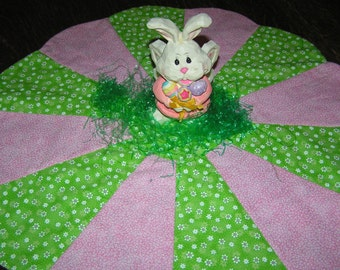 Reversible Easter or Spring Table Topper With Winter Poinsettias