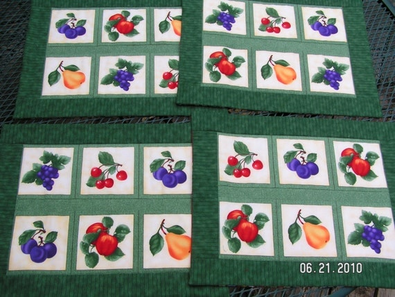 Table Runner and 4 Placemats with Fruit Reverses to Christmas Penguin Print