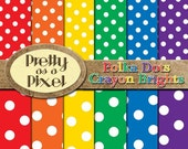 Polka Dots 1 - Crayon Brights 1 - Digital Paper Pack - Scrapbooking Backgrounds - Set of 12 - INSTANT DOWNLOAD