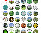 Golf - I Love Golf - One Inch Circles - INSTANT DOWNLOAD - For Pendants Magnets - Crafts - Digital Collage Sheet