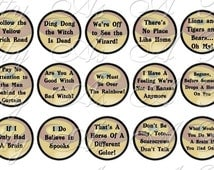 Wizard of Oz Quotes Sampler Size - One Inch Circles - INSTANT DOWNLOAD -  4 x 6 inch Digital Collage Sheet