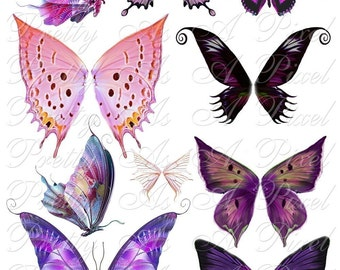 Butterfly Wings in Pink and Purple - Set 3 - INSTANT DOWNLOAD - Digital Collage Sheet