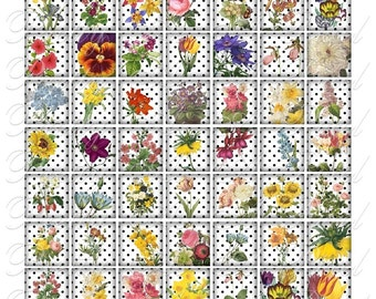 Polkadots and Flowers - 3 sizes - Inchies, 7-8 inch, AND scrabble tile size .75 x .83 inch - Digital Collage Sheet - INSTANT DOWNLOAD